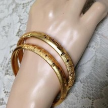 Elegant, Gold 2pc 1/4-inch W Etched Floral Design Size M-L 8in C Bangle ... - $13.25