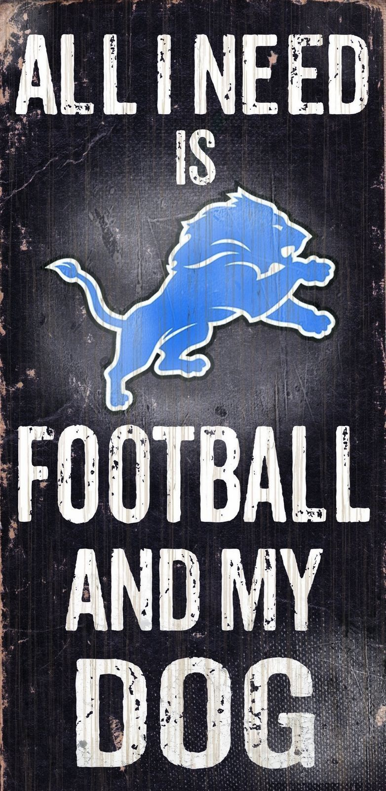 "DETROIT LIONS FOOTBALL and my DOG WOOD SIGN & ROPE 12"" X 6""  NFL MAN CAVE!"
