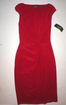 New Womens 8 NWT Ralph Lauren Red Sheath Dress Front Side Knot Work Date... - $107.55