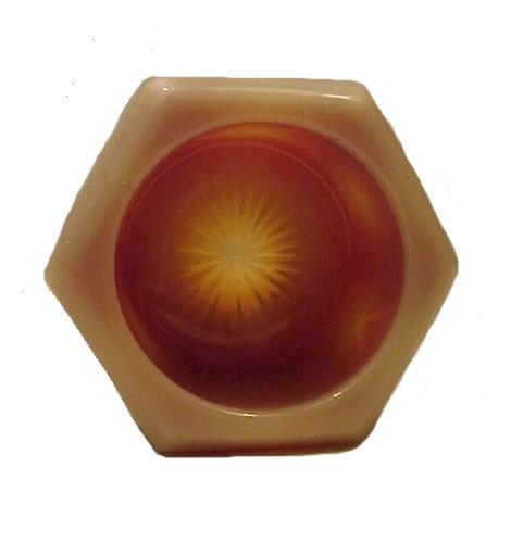 Burmese Pressed Glass Hexagon Open Salt Dip Cellar Dish