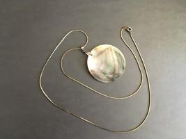 MOP Round Pendant Necklace Silver Plate Repurpo... - $18.00
