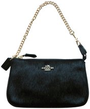 Coach Leather With Haircalf Large Wristlet Black - $156.42