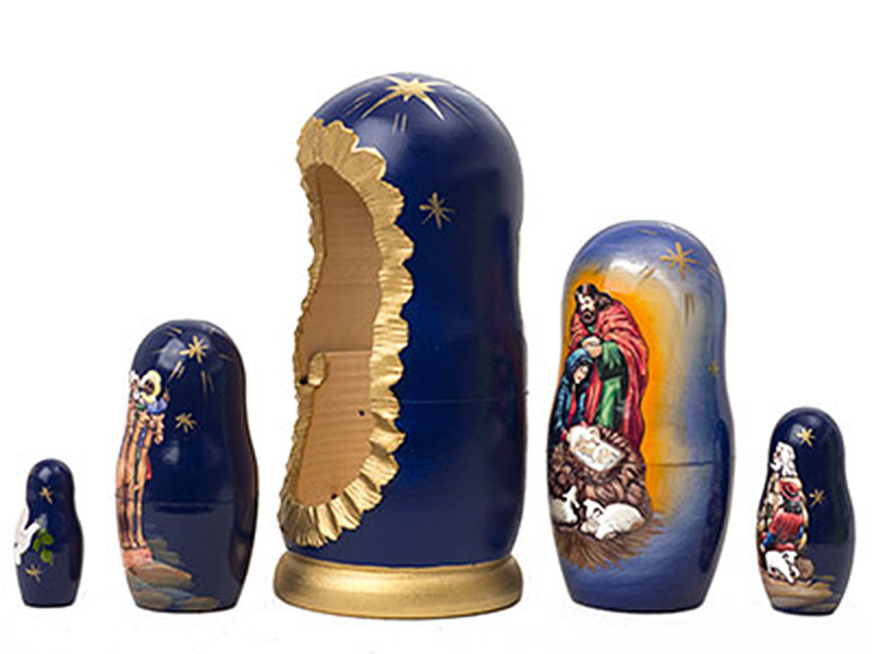 "Silent Night Nativity Doll - 6"" w/ 5 Pieces"