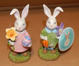 "Easter Bunny Figurines Resin Table Decor 6"" Mom & Dad Rabbits 108F - $23.49"