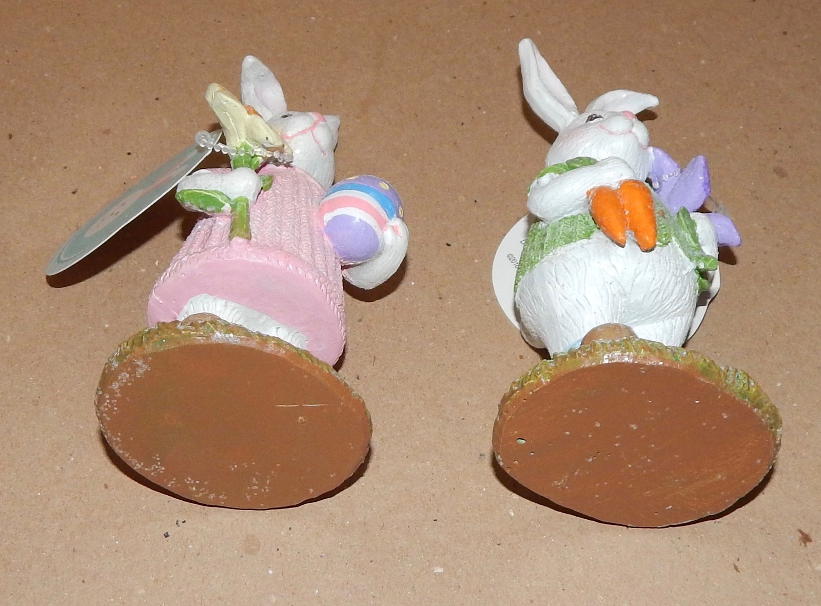 "Easter Bunny Figurines Resin Table Decor 6"" Mom & Dad Rabbits 108F"