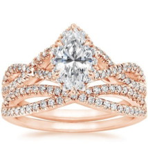 Marquise & Round Cut D/VVS1 Diamond Engagement Bridal Ring In 14K Rose G... - $117.99