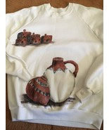 Hand Painted Puebo Houses White Sweatshirt Fabric Paint One Size Fits All - $25.00
