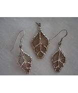 Vintage 925 Silver Lacey Pendant, Match Pierce Wire Earrings - $24.99