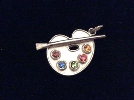Artist PAINT PALLET and BRUSH Pendant Charm in Sterling Silver with Rine... - $25.00