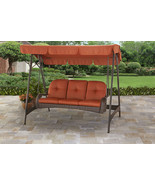 Outdoor Wicker Swing Bench 3 Person Adjustable Canopy Cushions Brown Orange - £386.58 GBP