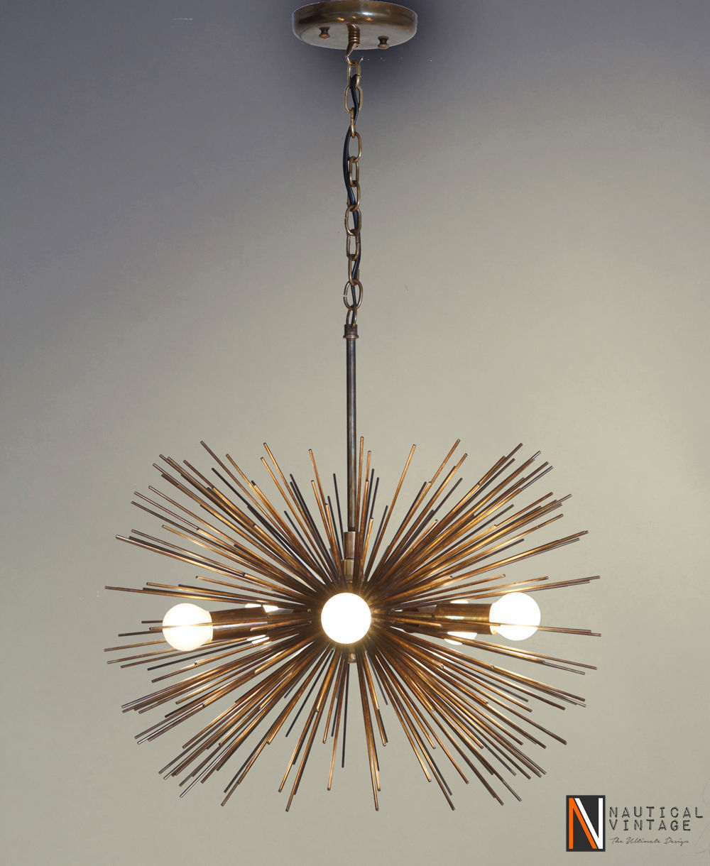 Mid century 5 Bulbs Antique Brass Sphere Urchin Chandelier Light Fixture