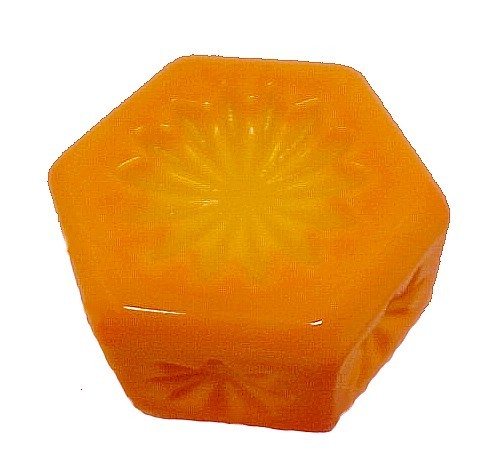 Hexagon Yellow Orange Slag Glass Open Salt Dip Cellar Candy Corn