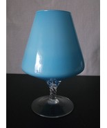 Mid Century Blue Cased White Glass Vase Apothecary Jar Base Candy Empoli... - $62.98