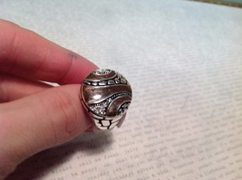 NEW Silver Tone Ring w Circular Face Plate w Chocolate Colored Enamel Sz 6 image 4