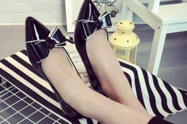 pp251 cutie pointy pump with big bow top, flat heel, US Size 5-9, black - $42.80