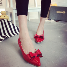 pp251 cutie pointy pump with big bow top, flat heel, US Size 5-9, red - $42.80
