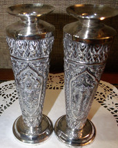 Pair Gorgeous Sterling Silver Vases ~ Buddhist ... - $425.00