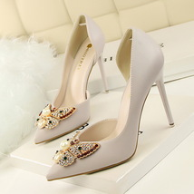 pp254 stunning big butterfly pump w rhinestone and pearl, US Size 4-8, gray - $48.80