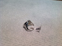 NEW Silver Tone Ring w Circular Face Plate w Chocolate Colored Enamel Sz 6 image 3