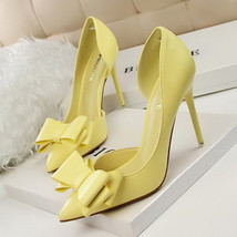 pp256 elegant bowtie pointy pump, PU leather US Size 4-8, yellow - $48.80