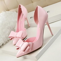 PU pointy 8 elegant leather pp256 pump bowtie US Size pink 4 qwI4PPxR