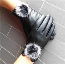 Women Gloves Winter Autumn Warm Mitten Leather Rabbit Fur Balls Wrist Soft - $8.76