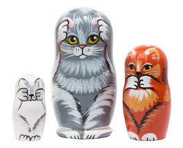 "No Evil Cats Nesting Doll - 4"" w/ 3 Pieces - $20.00"