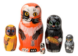 "Alley Cats Nesting Doll - 4"" w/ 5 Pieces - $25.00"
