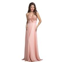 Lemai Women's Chiffon Sweetheart Beaded Peach-Pink Long Formal Prom Evening D... - $139.99