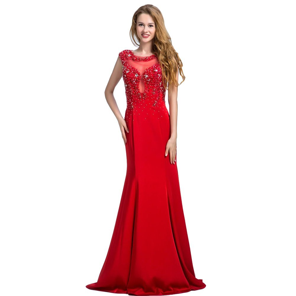 Lemai Women's Red Mermaid Beaded Crystals Formal Sheer Back Evening Prom Dres... - $129.99
