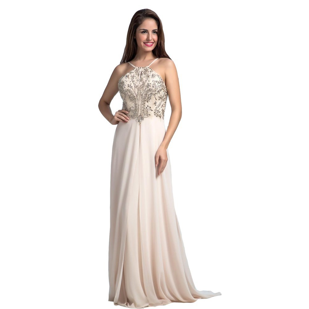 Lemai Women's Beaded Halter Chiffon A Line Low Back Formal Evening Prom Dress...