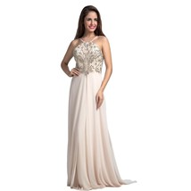Lemai Women's Beaded Halter Chiffon A Line Low Back Formal Evening Prom ... - $169.99