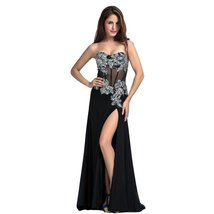 Lemai Women's Black Front Slit Sequined Crystals Sheer Back Long Evening Prom... - $139.99
