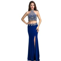Lemai Women's Royal Blue Two Pieces Crystals Beaded Mermaid Formal Prom Eveni... - $169.99