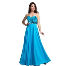 Lemai Women's Blue Sweetheart Beaded A Line Long Corset Formal Prom Evening D... - $139.99