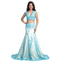 Lemai Women's Mermaid Blue Tulle Two Pieces Champagne Lace Formal Evening Pro... - $159.99