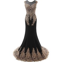 Lemai Women's God Lace Mermaid Sheer Sweep Train Formal Long Prom Evening Dre... - $119.99