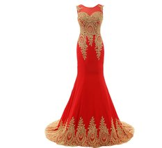 Lemai Women's God Lace Mermaid Sheer Sweep Train Formal Long Prom Evening Dre... - $109.99