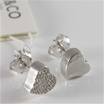 925 RHODIUM SILVER JACK&CO EARRINGS WITH HEART WITH CUBIC ZIRCONIA MADE IN ITALY image 2