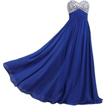 Lemai Sweetheart Chiffon A Line Shiny Crystals Corset Long Prom Formal E... - $89.99