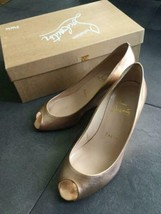 Christian Louboutin Authentic Wedge sole Sandals Gold 34.5 Used from Japan - $237.99