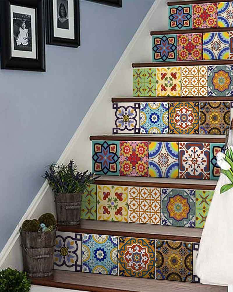 24 Set Mexican Tile Stickers Wall Decals Home Decor