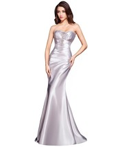 Lemai Women's Silver Beaded Mermaid Formal Corset Long Prom Evening Dresses US 8 - $109.99