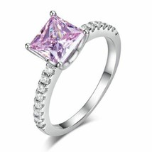 1.5 Ct Fancy Pink Created Diamond 925 Sterling Silver Wedding Ring Promi... - $54.81