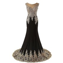 Lemai Spandex Jersey Mermaid Long Sheer Gold Crystals Lace Hem Formal Pr... - $109.99