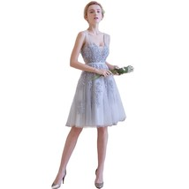 Lemai Silver Tulle Short Knee Length Sheer Backless Beaded Lace Prom Bridesma... - $119.99