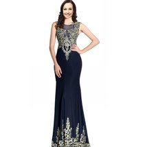 Mermaid Sexy Sheer Back Long Women Formal Prom Evening Dresses Gold Lace Crys... - $136.99