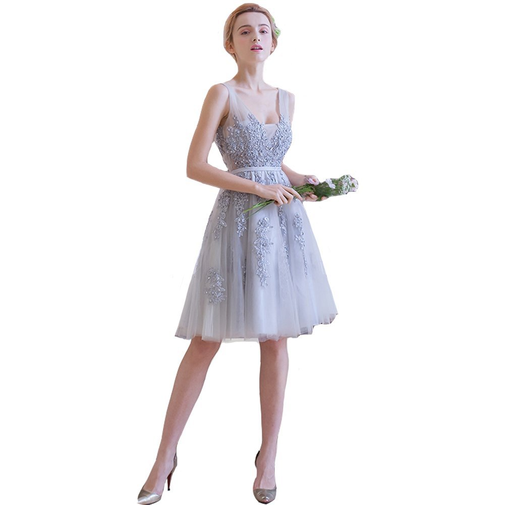 Primary image for Lemai Silver Tulle Short Knee Length Sheer Backless Beaded Lace Prom Bridesma...