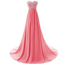 Lemai Shiny Beaded Long A Line Corset Chiffon Formal Crystals Prom Evening Dr... - $119.99