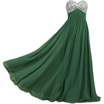 Lemai Sweetheart Chiffon A Line Shiny Crystals Corset Long Prom Formal Evenin... - $99.99